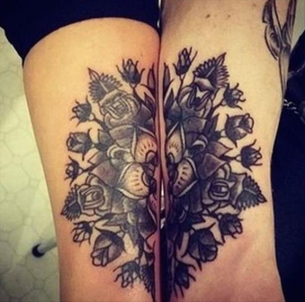 Awesome Flower Couple Tattoo Design Idea