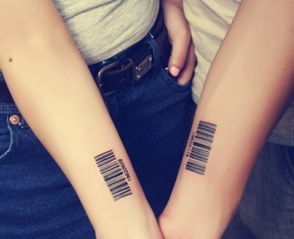 Barcode couple tattoo