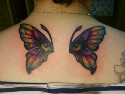 Butterfly Wing Tattoo at the Back
