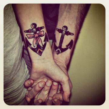 Cute Anchor Tattoo for Couple