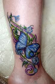 Flower and Butterfly Tattoo on Calf