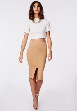 Front Split Camel Pencil Skirt