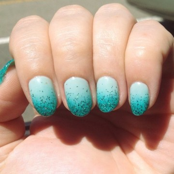 Glitter Sea Foam Pastel Ombre Nails