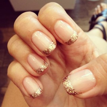 Gold Glitter Nail Tips for Weddings