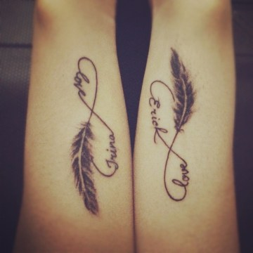 Infinity Symbol with Name and Feather Cute Couple Tattoo
