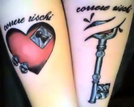 Key and Lock Awesome Love Tattoo for Couples