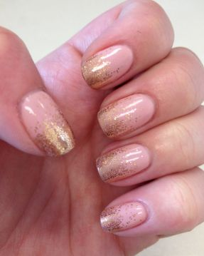 Light Pink with Gold Glitter Ombre Nails