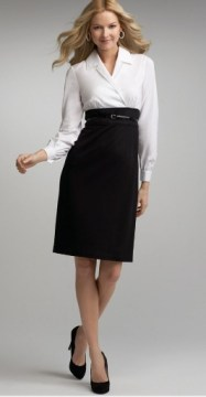 Long Sleeve Belted High Waist Black Pencil Skirt