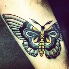 Long Wing Traditional Butterfly Tattoo