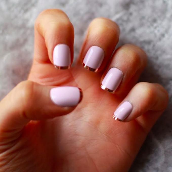 Metallic Nail Polish Pink French Manicure - FMag.com