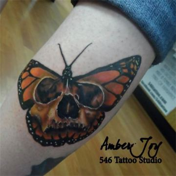 Monarch Skull Butterfly Tattoo