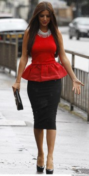 Peplum Red Top with a Pencil Skirt
