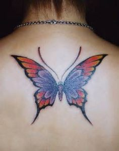 Pointed Tip Butterfly Tatto at the Back