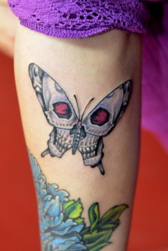 Red Eye Skull Wing Butterfly Tattoo