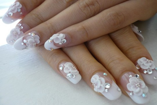 Romantic Wedding Nail Design - Best White Wedding Nails Ideas & Gels For Brides FMag.com