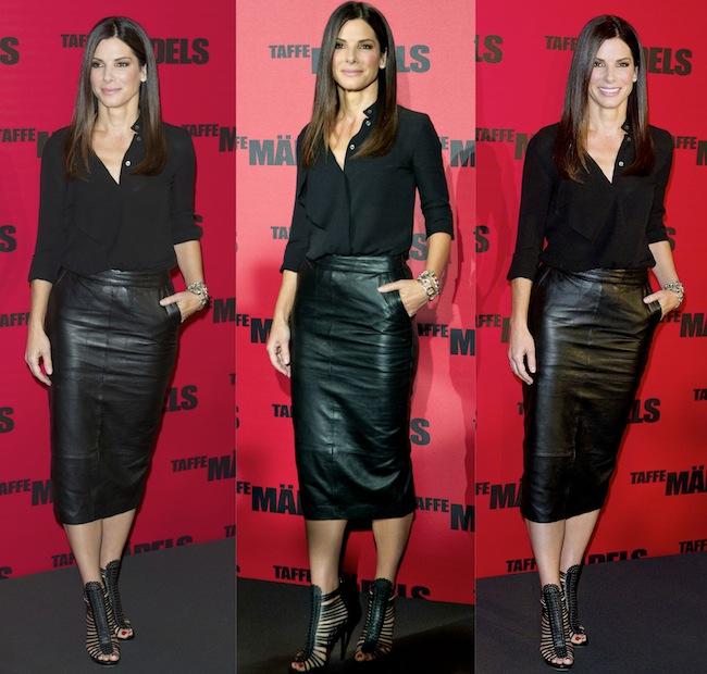 8cc1180add Sandra Bullock Black Dress Shirt and Pencil Skirt