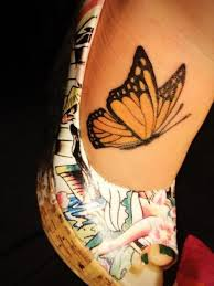 Side View Monarch Butterfly Tattoo on Toe