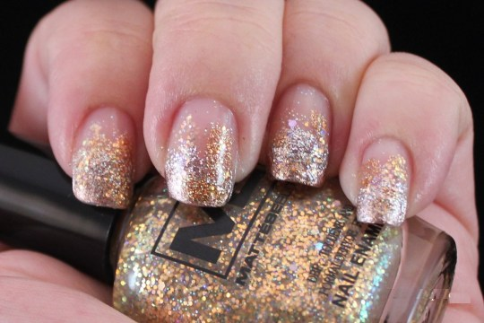 Silver and Gold Glitter Gradient Nail Art