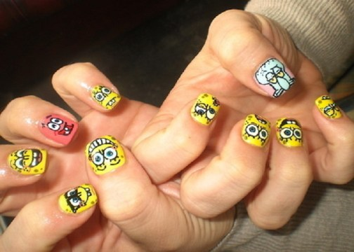 Spongebob short nails.