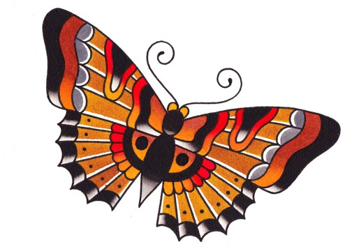 Traditional Butterfly Tattoo Pattern