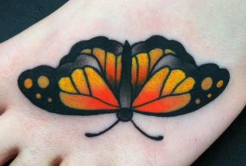 Traditional Monarch Butterfly on Toe
