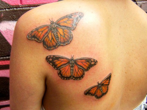 Triplets Monarch Butterfly Tattoo