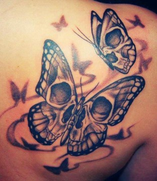 Twin Skull Butterfly Tattoo on the Back