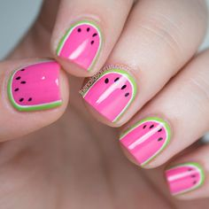 Watermelon short nails.