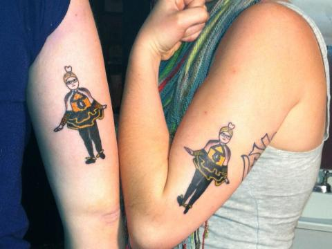 brother sister unique match tattoo