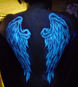 white ink tattoo, glows