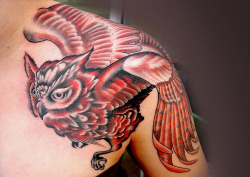 red furious owl tattoo