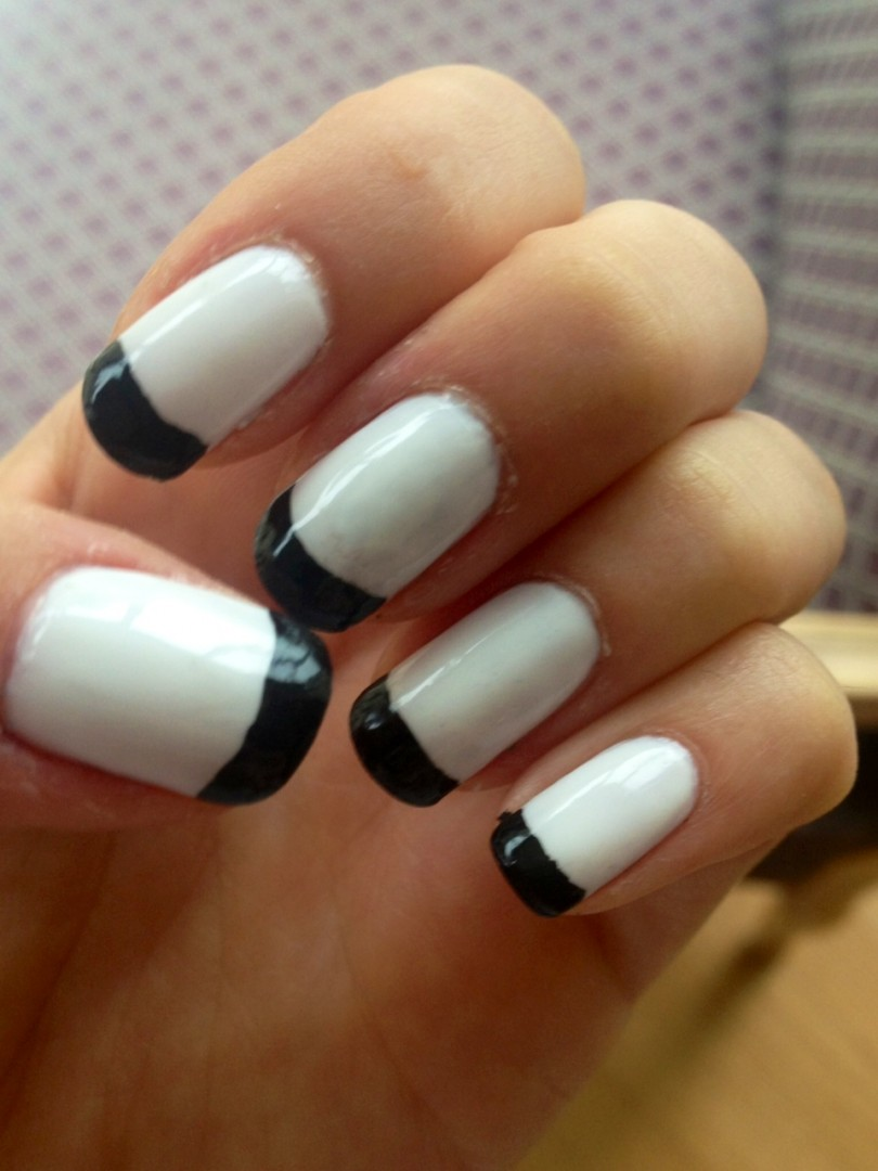 White French Manicure Black Tips - FMag.com