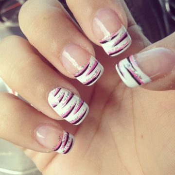 Black and Pink Zebra French Tips with Glitters