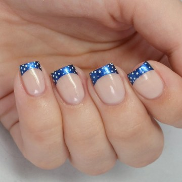 Blue French Tip Nails with Polka Dots