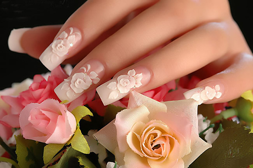 French Tip nails with Flower for Weddings
