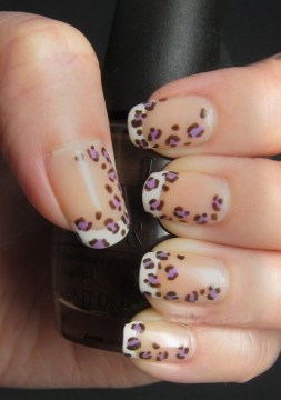 French Tip with Leopard Print