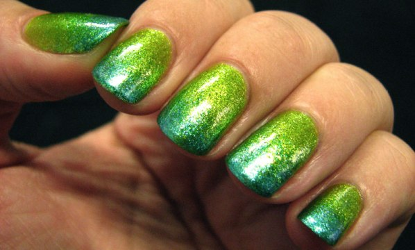 Green Ombre French Tips
