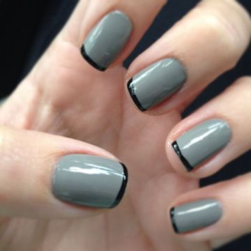 Grey Matte Mani with Black French Tips