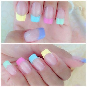 Multi Pastel-Colored French Tip Nails