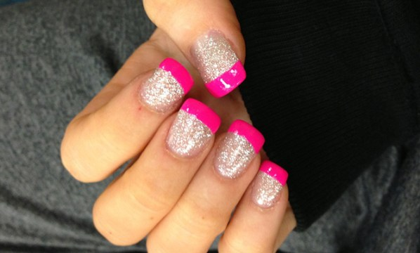 Neon Pink French Nails