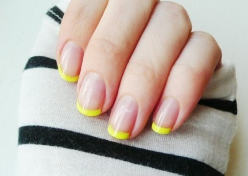 Neon Yellow French Tip Nails