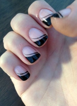Nude and Black Swooped French Tip Nails