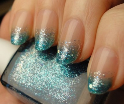 Ombre Glitter French Tips
