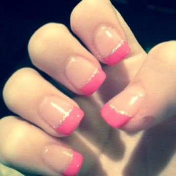 Pink French Tips with Silver Linings