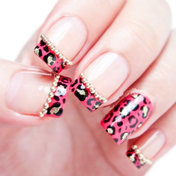 Pink & Gold Leopard Print French Tips