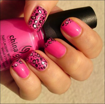 Pink Leopard French Tips