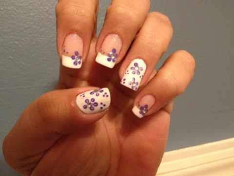 Purple Flowers On French White Tip