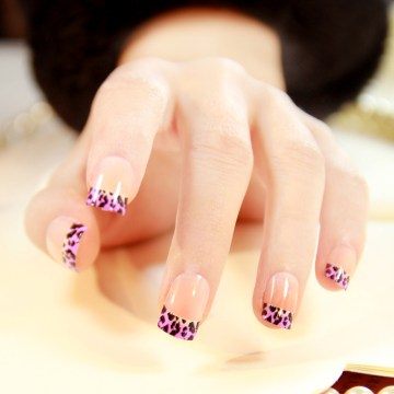 Purple Leopard Print French Tip Nails
