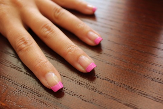 Solid Pink French Tip Nails