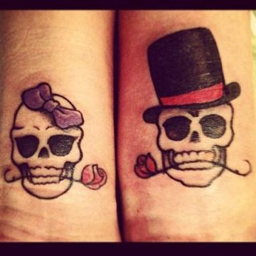 skulls couple tattoo